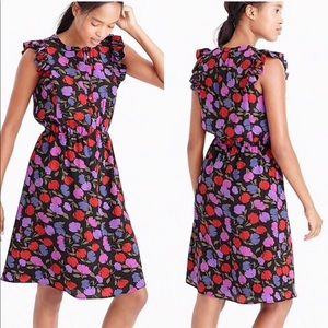 J.crew Flutter-sleeve dress in painted pansy